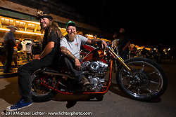 Bean're and custom bike builder Bill Dodge at the Iron Horse Saloon during the Bill Dodge and Bean're in the Old Broken Spoke area of the Sturgis Iron Horse Saloon during the Sturgis Black Hills Motorcycle Rally. Sturgis, SD, USA. Monday, August 5, 2019. Photography ©2019 Michael Lichter.