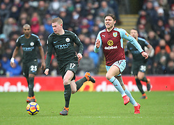 Kevin De Bruyne of Manchester City (L) and Jeff Hendrick of Burnley in action - Mandatory by-line: Jack Phillips/JMP - 03/02/2018 - FOOTBALL - Turf Moor - Burnley, England - Burnley v Manchester City - English Premier League
