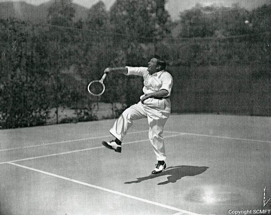 1930s John McCormack playing tennis at his home in Runyon Canyon, in the Hollywood Hills