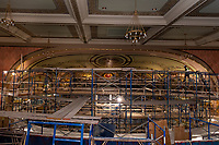 Colonial Theater restoration work - with top floor ceiling staging dismantled.  ©2020 Karen Bobotas Photographer