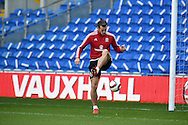Gareth Bale of Wales during Wales football team training session at the Cardiff city stadium  in Cardiff, South Wales  on Monday 12th October 2015. The team are training ahead of their final Euro 2016 qualifying against Andorra tomorrow.<br /> pic by  Andrew Orchard, Andrew Orchard sports photography.