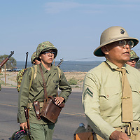 Members of the Gallup Recruiting Station march down HW 264 for the Navajo Code Talkers Parade in Window Rock, AZ on Aug. 14, 2018.