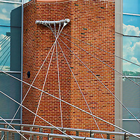 """""""Wires Crossed"""" 1<br /> <br /> Cables, anchors, bricks and reflections on the science building at EMU!!<br /> <br /> Architecture: Structures and buildings by Rachel Cohen"""