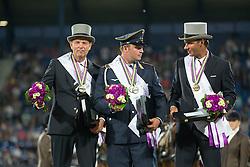 Brauchle Michael, (GER), Chardon IJsbrand, (NED), De Ronde Koos, (NED)<br /> Driving competition Prizegiving<br /> European Championships - Aachen 2015<br /> © Hippo Foto - Dirk Caremans<br /> 22/08/15