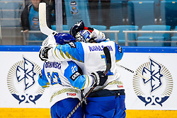 Players of Kazakhstan celebrate during ice hockey match between Slovenia and Kazakhstan at IIHF World Championship DIV. I Group A Kazakhstan 2019, on April 29, 2019 in Barys Arena, Nur-Sultan, Kazakhstan. Photo by Matic Klansek Velej / Sportida