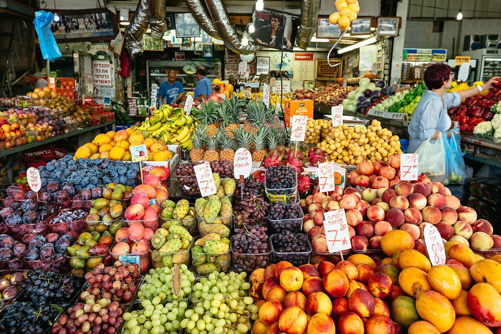 Fresh fruit and vegetables on display at Shuk HaCarmel (HaCarmel Market) in Tel Aviv