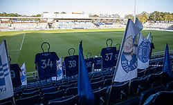 Ingen fans på fantribunen under kampen i 3F Superligaen mellem Lyngby Boldklub og FC København den 1. juni 2020 på Lyngby Stadion (Foto: Claus Birch).