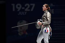 WUXI, July 27, 2018  Cecilia Berder of France reacts during the women's sabre team final between France and Russia at the Fencing World Championships in Wuxi, east China's Jiangsu Province, July 27, 2018. France beat Russia 45-35 and claimed the title of the event. (Credit Image: © Li Bo/Xinhua via ZUMA Wire)