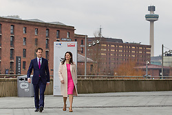 © Licensed to London News Pictures . 15/03/2015 . Liverpool , UK . Nick Clegg and his wife Mirian Gonzalez Durantez arrive ahead of Nick Clegg's speech . The Liberal Democrat Party Conference at the Arena and Conference Centre in Liverpool . Photo credit : Joel Goodman/LNP