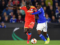 Football - 2021 / 2022 UEFA Europa League - Group C, Round One - Leicester City vs Napoli - King Power Stadium - Thursday 16th September 2021<br /> <br /> Leicester City's Patson Daka battles for possession with Napoli's Kalidou Koulibaly.<br /> <br /> COLORSPORT/Ashley Western