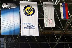 EHF flag  at handball match RK Celje Pivovarna Lasko vs RK Gold Club in semifinal of Slovenian Handball Cup, on March 29, 2008 in Celje, Slovenia. Won of Gold Club 37:38. (Photo by Vid Ponikvar / Sportal Images)