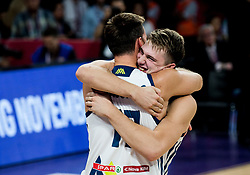 Sasa Zagorac of Slovenia and Luka Doncic of Slovenia  celebrate after winning during basketball match between National Teams of Slovenia and Latvia at Day 13 in Round of 16 of the FIBA EuroBasket 2017 at Sinan Erdem Dome in Istanbul, Turkey on September 12, 2017. Photo by Vid Ponikvar / Sportida