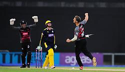 Max Waller of Somerset celebrates the wicket of Liam Dawson.  - Mandatory by-line: Alex Davidson/JMP - 02/08/2016 - CRICKET - The Ageas Bowl - Southampton, United Kingdom - Hampshire v Somerset - Royal London One Day