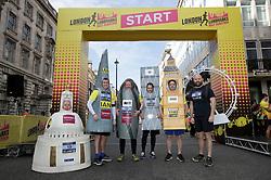 Mascots at the start line ahead of the 2019 London Landmarks Half Marathon.