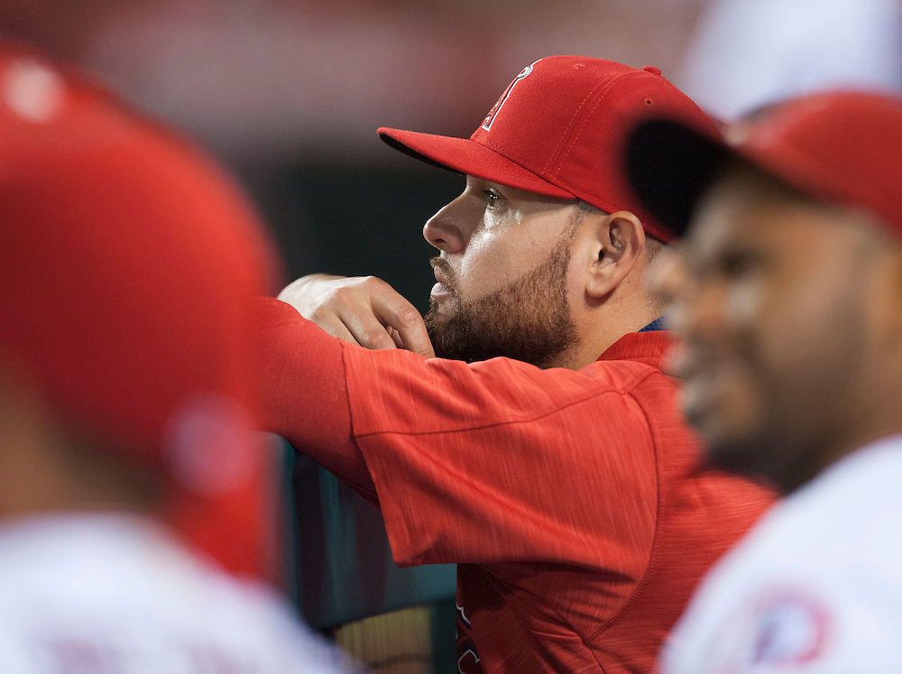 New pitcher Ricky Nolasco takes in his first game as an Angel from the bench against the Oakland Athletics at Angel Stadium on Tuesday.<br /> <br /> ///ADDITIONAL INFO:   <br /> <br /> angels.0803.kjs  ---  Photo by KEVIN SULLIVAN / Orange County Register  -- 8/2/16<br /> <br /> The Los Angeles Angels take on the Oakland Athletics at Angel Stadium.