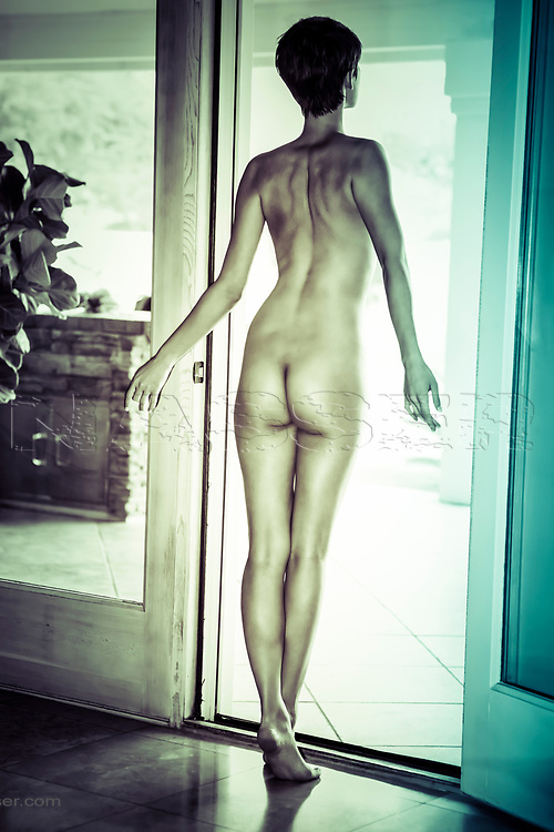 Tall Nude of a young boyish brunette from behind at the patio deck door in muted cinema technicolour.<br /> <br /> No Watermark on Art or Licensed Image. No Unauthorized or Creative Commons Use Permitted. All Rights Reserved. <br /> Copyright ©Amyn Nasser Studios
