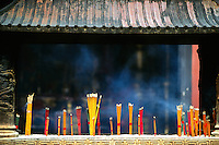 Joss sticks burning at the Temple of the Town God (Chenghuang Miao), in the Old City, Shanghai, China