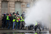 Mcc0086782 . Daily Telegraph<br /> <br /> DT News<br /> <br /> Police deploy water canon .<br /> <br /> Scenes on the on Ave de Freidland and Blvd Hausmann as protests turn violent in Paris for another weekend .<br /> <br /> Paris 8 December  2018
