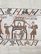 Bayeux Tapestry scene 46:  Duke William id told of Harolds army arrival and a house is burnt to clear the way. .<br /> <br /> If you prefer you can also buy from our ALAMY PHOTO LIBRARY  Collection visit : https://www.alamy.com/portfolio/paul-williams-funkystock/bayeux-tapestry-medieval-art.html  if you know the scene number you want enter BXY followed bt the scene no into the SEARCH WITHIN GALLERY box  i.e BYX 22 for scene 22)<br /> <br />  Visit our MEDIEVAL ART PHOTO COLLECTIONS for more   photos  to download or buy as prints https://funkystock.photoshelter.com/gallery-collection/Medieval-Middle-Ages-Art-Artefacts-Antiquities-Pictures-Images-of/C0000YpKXiAHnG2k