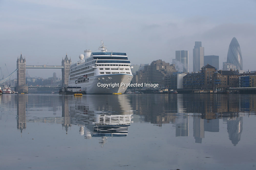 Azamara Journey in London for the first time.  The ship moored in front of Tower Bridge...