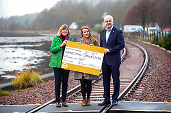 Green Party, Train Line Petition, 27-11-2019<br /> <br /> Scottish Greens launch train line petition. Parliamentary co-leader Alison Johnstone and Mid Scotland and Fife MSP Mark Ruskell joined Dunfermline and West Fife candidate Mags Hall in launching the campaign to re-open the train line which would link Dunfermline to Alloa, Glasgow and the west.<br /> <br /> <br /> Alison Johnstone in green<br /> Mags Hall in grey<br /> Mike Ruskell MSP<br /> <br /> (c) David Wardle | Edinburgh Elite media