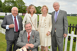 Left to right, URS SCHWARZENBACH, The HON.MARK VESTEY his wife ROSIE VESTEY and GALEN & HILARY WESTON at the Cartier Queen's Cup Polo final at Guard's Polo Club, Smiths Lawn, Windsor Great Park, Egham, Surrey on 14th June 2015