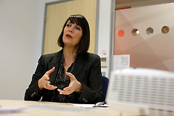UK ENGLAND LUTON 12FEB14 - Easyjet CEO Carol McCall reacts during an interview at the company's headquarters in Luton, England.<br /> <br /> <br /> <br /> jre/Photo by Jiri Rezac<br /> <br /> <br /> <br /> © Jiri Rezac 2014