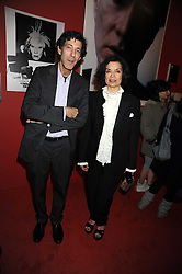 """BIANCA JAGGER and RALPH RUGOFF the director of the Hayward Gallery at an exhibition of work by Andy Warhol entitled """"Other Voices, Other Rooms"""" at The Hayward Gallery, Southbank Centre, London SE1 on 6th October 2008."""