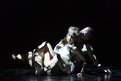 "© Licensed to London News Pictures. 22/06/2014. London, England. James O'Hara and Olivia Ancona perform ""Faun"". Dress rehearsal of Eastman-Sidi Larbi Cherkaoui's ""4D"". 4D is part of Sadler's Sampled, a two week taster festival of dance at low prices (standing tickets from GBP 8), which runs to 29 June 2014 at Sadler's Wells, London. Photo credit: Bettina Strenske/LNP"