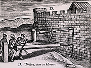 Two forms auger used by the Romans in siege warfare to drill into the wall of a fortress.  From 'Poliorceticon sive de machinis tormentis telis' by Justus Lipsius (Joost Lips) (Antwerp, 1605). Engraving.