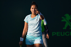 March 22, 2018 - Key Biscayne, FL, U.S. - KEY BISCAYNE, FL - MARCH 22: Zarina Diyas (KAZ) in action on Day 4 of the Miami Open on March 22, 2018, at Crandon Park Tennis Center in Key Biscayne, FL. (Photo by Aaron Gilbert/Icon Sportswire) (Credit Image: © Aaron Gilbert/Icon SMI via ZUMA Press)