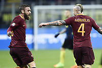 Esultanza gol Radja Nainggolan Roma con Daniele De Rossi Goal celebration <br /> Milano 26-02-2017 Football Calcio serie A 2016/2017 Inter - AS Roma foto Image Sport/Insidefoto