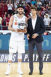 June 19, 2018 - Vitoria, Spain - Real Madrid Rudy Fernandez receive the MVP of finals awards after Liga Endesa Finals match (4th game) between Kirolbet Baskonia and Real Madrid at Fernando Buesa Arena in Vitoria, Spain. June 19, 2018. (Credit Image: © Coolmedia/NurPhoto via ZUMA Press)