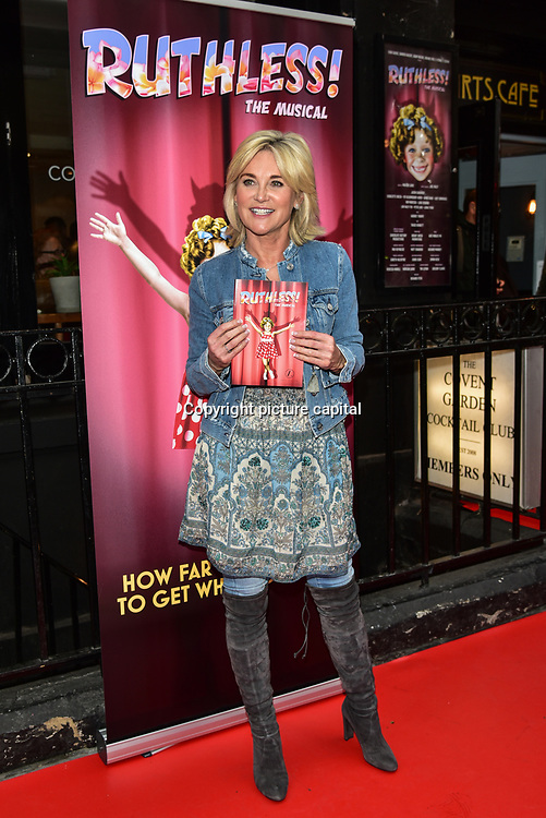 Anthea Turner arrives at Ruthless! The Musical - Arts Theatre opening night on 27 March 2018  at Arts Theatre, London, UK.