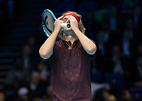 Tennis - 2017 Nitto ATP Finals at The O2 - Day Five<br /> <br /> Group Boris Becker Singles: Alexander Zverev (Germany) Vs Jack Sock (United States)<br /> <br /> Alexander Zverev (Germany) hides his face behind his hands in disbelief at his play at the O2 Arena<br /> <br /> COLORSPORT/DANIEL BEARHAM