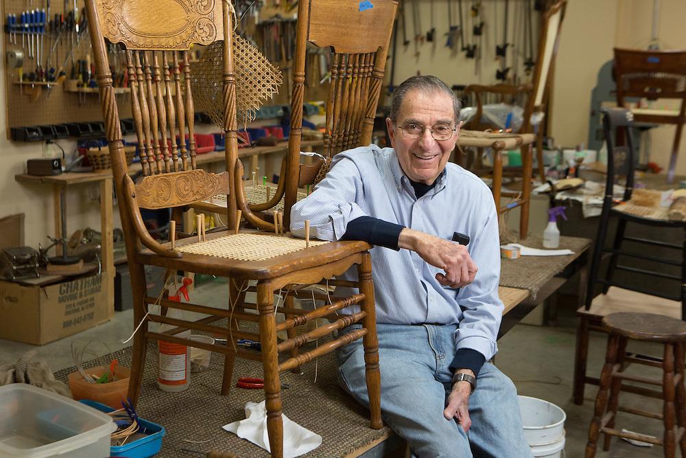 Portrait of Al Kessler, manager of the Sage Eldercare furniture restoration workshop in Summit.   1/5/14 Photo by John O'Boyle