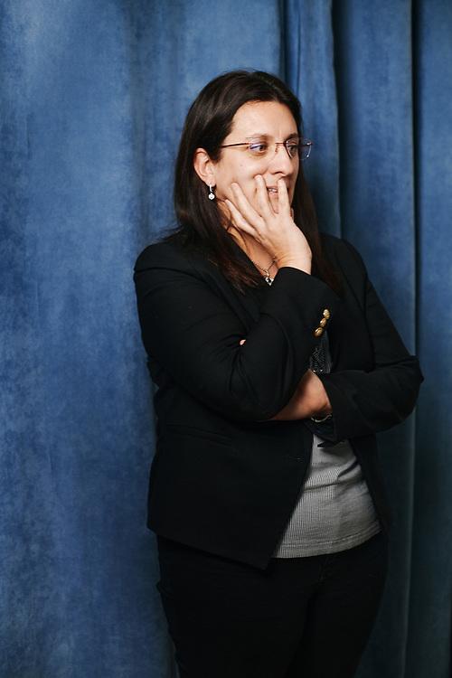 La deputee Perrine Goulet prenant la pose dans les locaux de sa permanence. Nevers, France. 27 janvier 2020.
