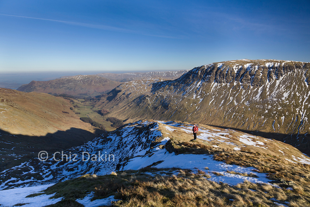 Looking down Grizedale valley (St Sunday Crag in background) from Nethermost Pike East Ridge