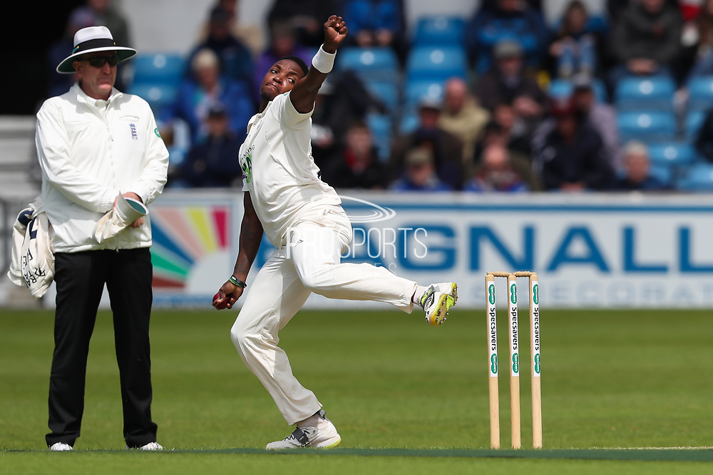 Fidel Edwards of Hampshire during the opening day of the Specsavers County Champ Div 1 match between Yorkshire County Cricket Club and Hampshire County Cricket Club at Headingley Stadium, Headingley, United Kingdom on 27 May 2019.
