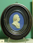 Medallion portrait of Priestly by Wedgewood in blue jasper ware circa 1775.