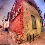 River Market fisheye photo along Independence Avenue, Kansas City, MO.