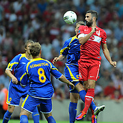 Turkey's Serdar KESIMAL (R) during their UEFA EURO 2012 Qualifying round Group A soccer match Turkey betwen Kazakhstan at TT Arena Istanbul September 02, 2011. Photo by TURKPIX