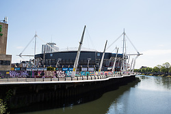 Cardiff, UK. 2nd May, 2017. The Principality Stadium, formerly known as the Millennium Stadium, is located alongside the River Taff. The national stadium of Wales, it hosts the Wales national rugby union team, some Wales national football team matches, speedway and concerts.