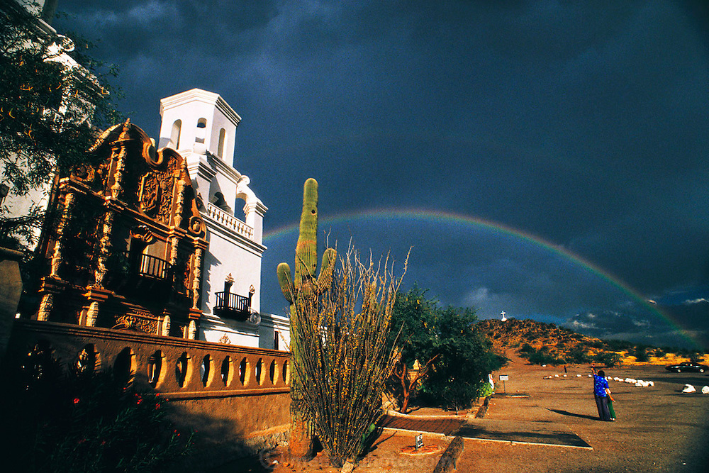 Mission San Xavier del Bac with rainbow. Tucson, Arizona, USA.