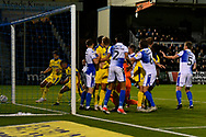 Kwesi Appiah (9) of AFC Wimbledon goal is ruled out for a foul on Jack Bonham (13) of Bristol Rovers during the EFL Sky Bet League 1 match between Bristol Rovers and AFC Wimbledon at the Memorial Stadium, Bristol, England on 23 October 2018.
