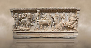 Roman relief sculpted sarcophagus of Achilles from Attica. This side shows scenes from the life of Achilles and bears characteristics of the Late Antonines Period of the Roman Imperial Period between 170-190 AD. Adana Archaeology Museum, Turkey. Against a warm art background .<br /> <br /> If you prefer to buy from our ALAMY STOCK LIBRARY page at https://www.alamy.com/portfolio/paul-williams-funkystock/greco-roman-sculptures.html . Type -    Adana     - into LOWER SEARCH WITHIN GALLERY box - Refine search by adding a subject, place, background colour, museum etc.<br /> <br /> Visit our ROMAN WORLD PHOTO COLLECTIONS for more photos to download or buy as wall art prints https://funkystock.photoshelter.com/gallery-collection/The-Romans-Art-Artefacts-Antiquities-Historic-Sites-Pictures-Images/C0000r2uLJJo9_s0