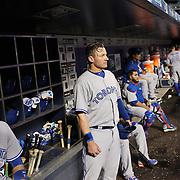 Josh Donaldson, Toronto Blue Jays, in the dugout preparing to bat during the New York Mets Vs Toronto Blue Jays MLB regular season baseball game at Citi Field, Queens, New York. USA. 15th June 2015. Photo Tim Clayton