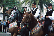 """Cavalcata Sarda, Sassari..dias In Sardinia there are more than 200 festivals and events during the year, but only 3 offer the opportunità to see united, un the same place, all the traditional customs of the isle: Sant'Efisio at Cagliari, the Redentore at Nuoro and the Cavalcata Sarda at Sassari.<br /> The Cavalcata, that is different from the other two celebration because it's not a religious celebration, it join varoius aspects of celebration: there is the presentation of the customs then there is one component more sportive with skills by the riders (""""pariglie""""), elements typically of folk-lore: songs and dances tha last until late hour."""
