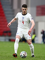 TIRANA, ALBANIA - MARCH 28: Declan Rice of England during the FIFA World Cup 2022 Qatar qualifying match between Albania and England at the Qemal Stafa Stadium on March 28, 2021 in Tirana, Albania. Sporting stadiums around Europe remain under strict restrictions due to the Coronavirus Pandemic as Government social distancing laws prohibit fans inside venues resulting in games being played behind closed doors (Photo by MB Media)