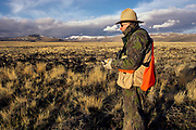 Hart Mountain National Antelope Refuge, volunteer counting Greater Sage Grouse on the lek